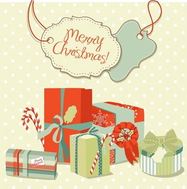 christmas gift tags vector background