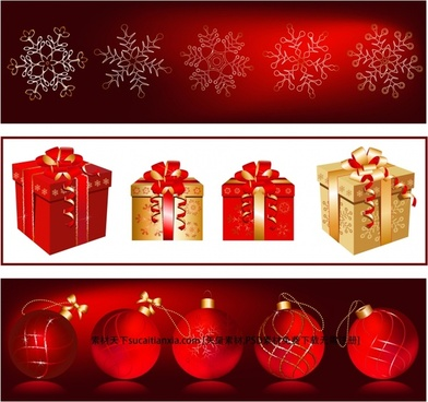 christmas background templates snowflakes gift baubles icons decor
