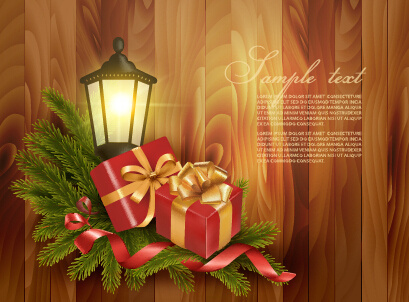 christmas gift with lamp wooden background vector
