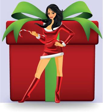 christmas girl and gift box design vector