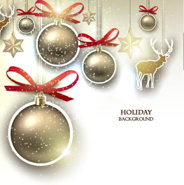 christmas golden baubles xmas card vector