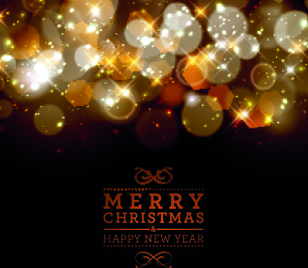 christmas golden halation background vector