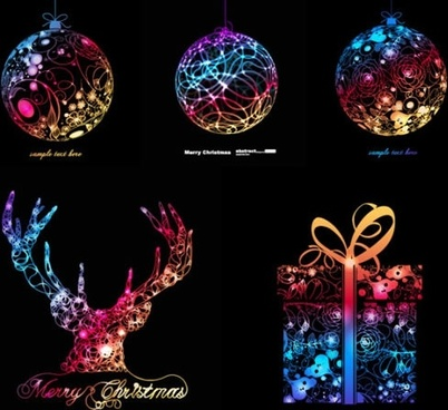 xmas design elements colorful sparkling symbols lights effect