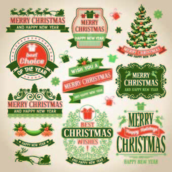 christmas green labels vector