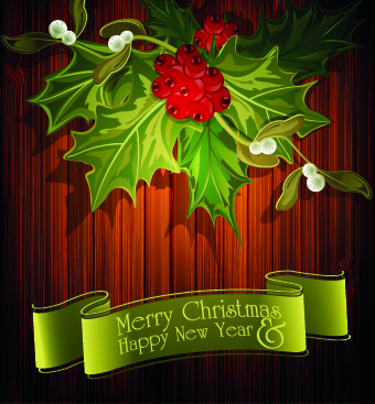 christmas green ribbon with wooden background vector