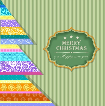 christmas greeting banner classical stripes colorful triangles decoration