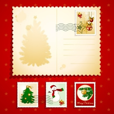 christmas greeting card vector elements stamps