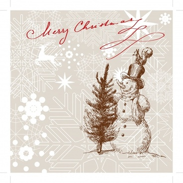 christmas background snowman snowflakes fir tree handdrawn sketch
