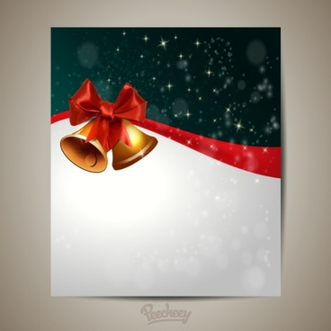 christmas greeting card with golden christmas bells