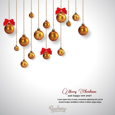 christmas greeting card with shiny christmas balls