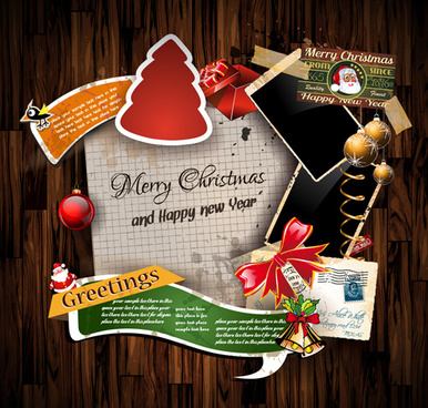 Superb Christmas Greetings Cards Vector Template
