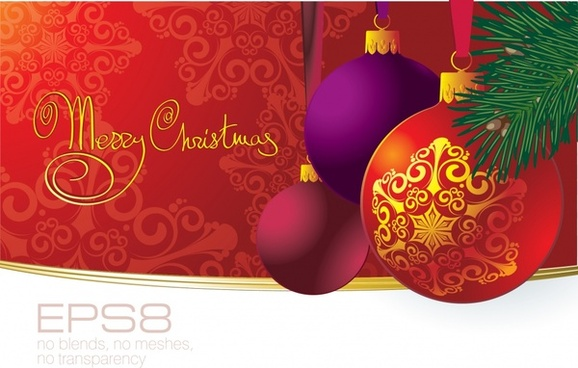 christmas banner shiny colorful modern baubles decor