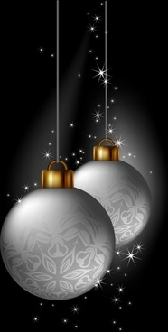 xmas background modern sparkling silver bauble balls decor