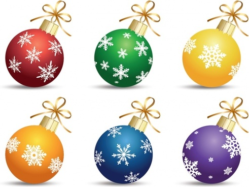 christmas bauble ball icons modern colorful design