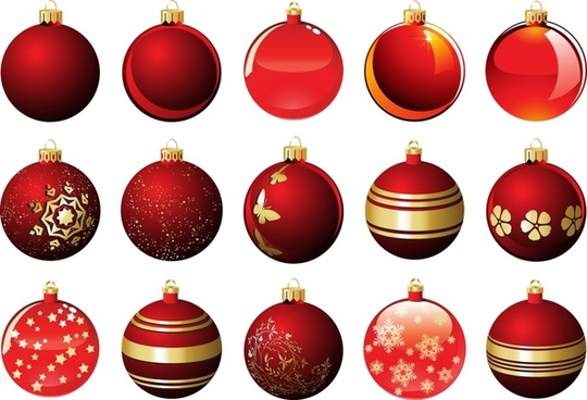 xmas bauble balls icons modern shiny red decor