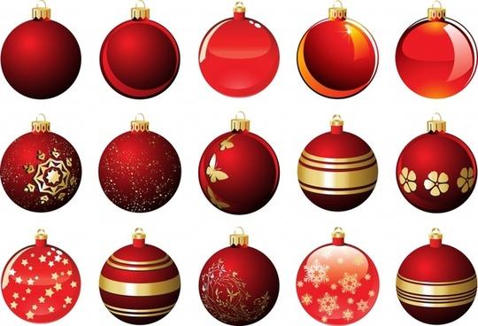 xmas bauble balls icons modern shiny red decor