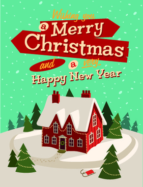 christmas houses winter vector background