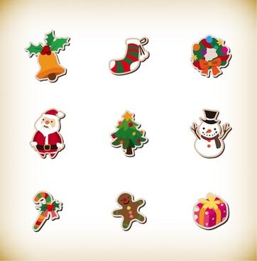 christmas icon set vector graphics