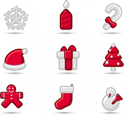christmas design elements red white classical icons