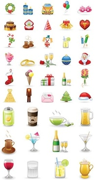 party design elements colorful symbols sketch