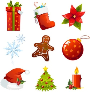 xmas design elements colorful symbols sketch