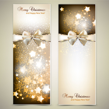christmas invitation cards with bow vector