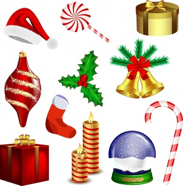 christmas design elements modern colorful symbols 3d sketch