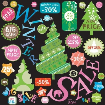christmas label 02 vector