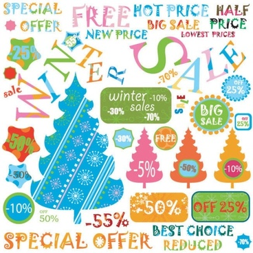 christmas label 04 vector