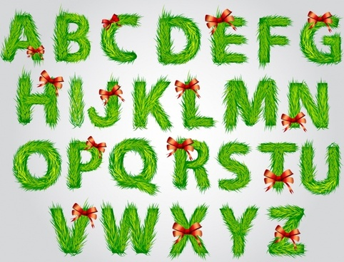 christmas lawn vector english font alphabet