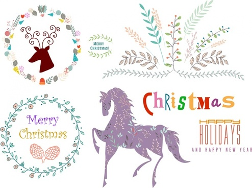 christmas logo sets various symbols in multicolors