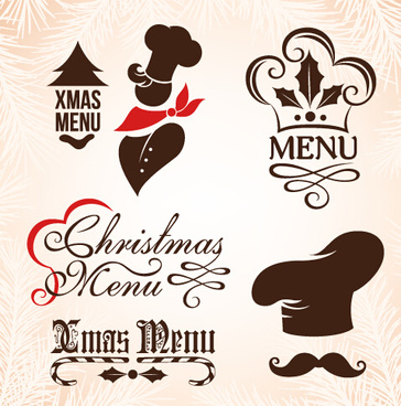 christmas menu design elements vector set