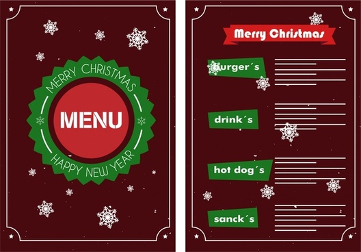 christmas menu design snowflakes on dark background
