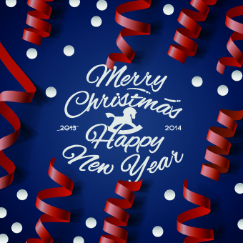 christmas new year ribbon background vector