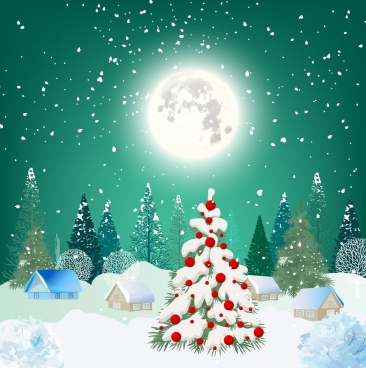christmas night background bright moonlight snowy landscape decoration