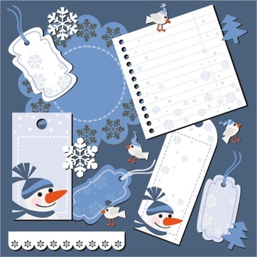 christmas notes stickers 04 vector