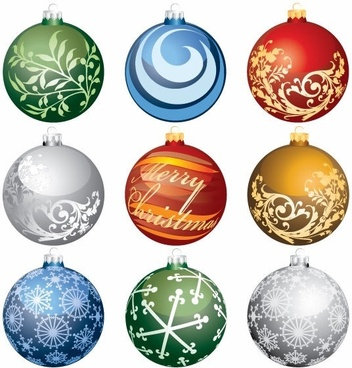 Christmas Ornament Balls Vector Set