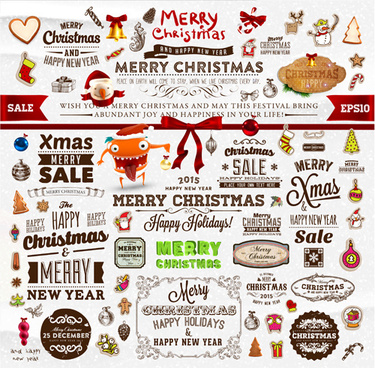 christmas ornament elements and labels vector