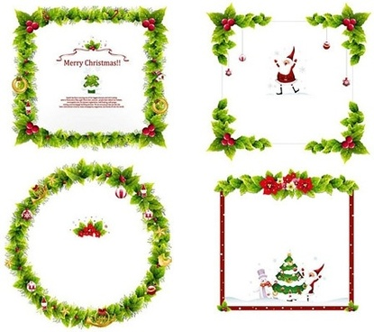 christmas frames collection green leaves and symbols decoration