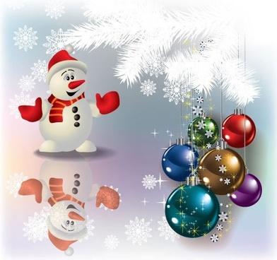 christmas ornament snowman snowflake vector