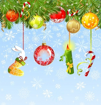 xmas background hanging baubles decor colorful modern design