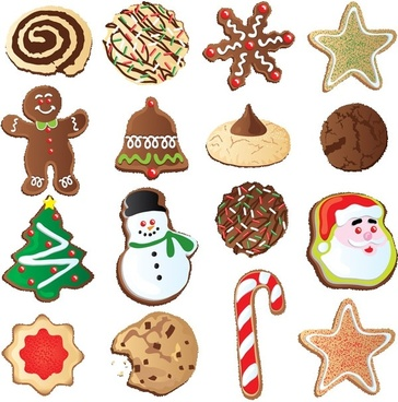 christmas ornaments biscuits vector
