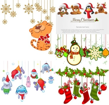 christmas background templates colorful cute symbols decor