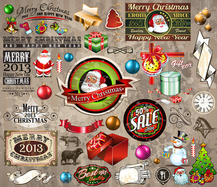 christmas ornaments collection vector graphics