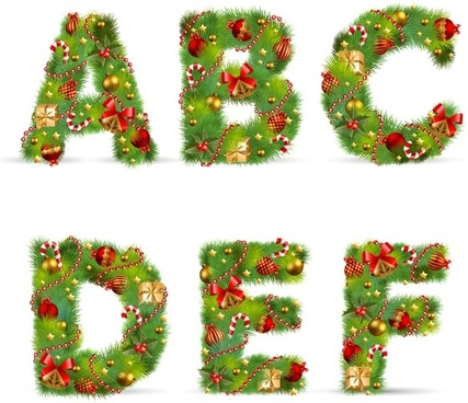 christmas ornaments composed of letters 01 vector