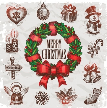 christmas design elements colored classical decorated symbols