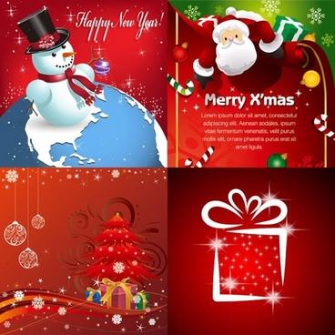 xmas background templates colorful sparkling decor classical emblems