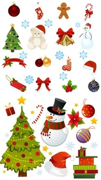 christmas design elements colorful symbols sketch