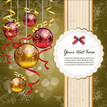 christmas ornaments with greeting card background vector