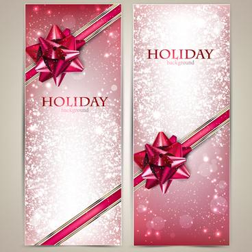 christmas ornate gift cards vector set